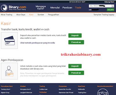 Alur Deposit dan Pencairan (WD) di binary.com