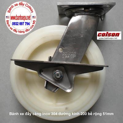 Bánh xe đẩy inox 304 Colson phi 200 chịu lực 450kg | 4-8499-824-BRK3 www.banhxedayhang.net