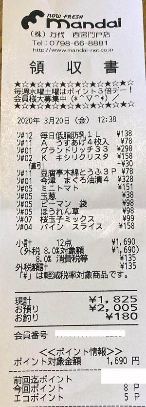 万代 西宮門戸店 2020/3/20 のレシート