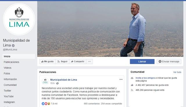 Facebook de la Municipalidad de Lima dejaron el color amarillo característico de la gestión del exalcalde Luis Castañeda