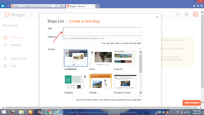 title of the blog in bllogger