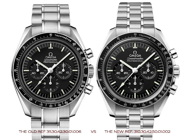 Old and new Omega Speedmaster Moonwatch