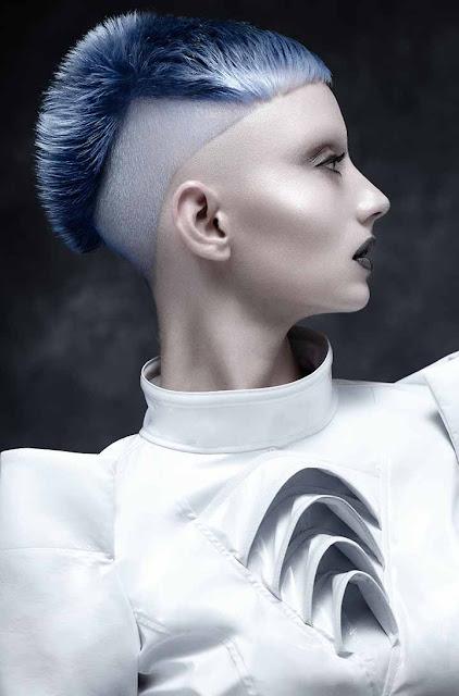 color de cabello pastel azul gris