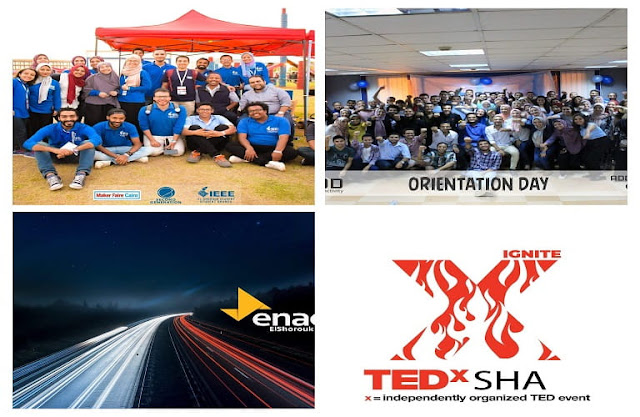 في الشروق عندنا 4 انشطه طلابية اللي هما IEEE و ADD+ و Enactuse و tedx.