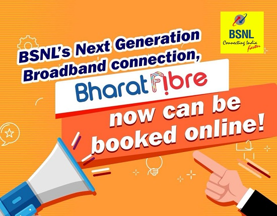 BSNL launched Online Booking of Bharat Fiber - Ultra High Speed Fiber Broadband (FTTH) Service