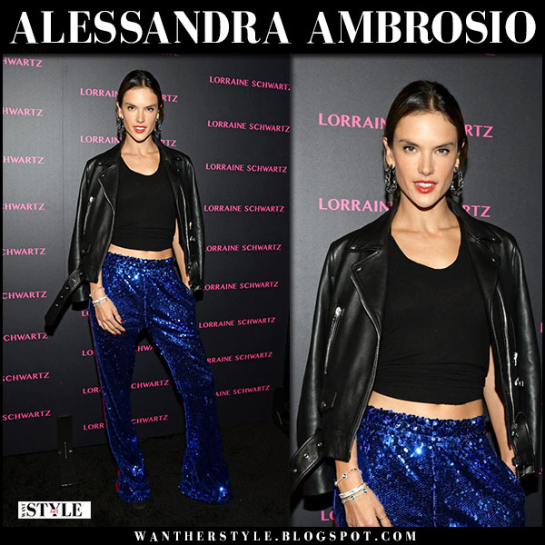 Alessandra Ambrosio in blue sequin pants faith connexion kappa and black leather jacket fashion march 13
