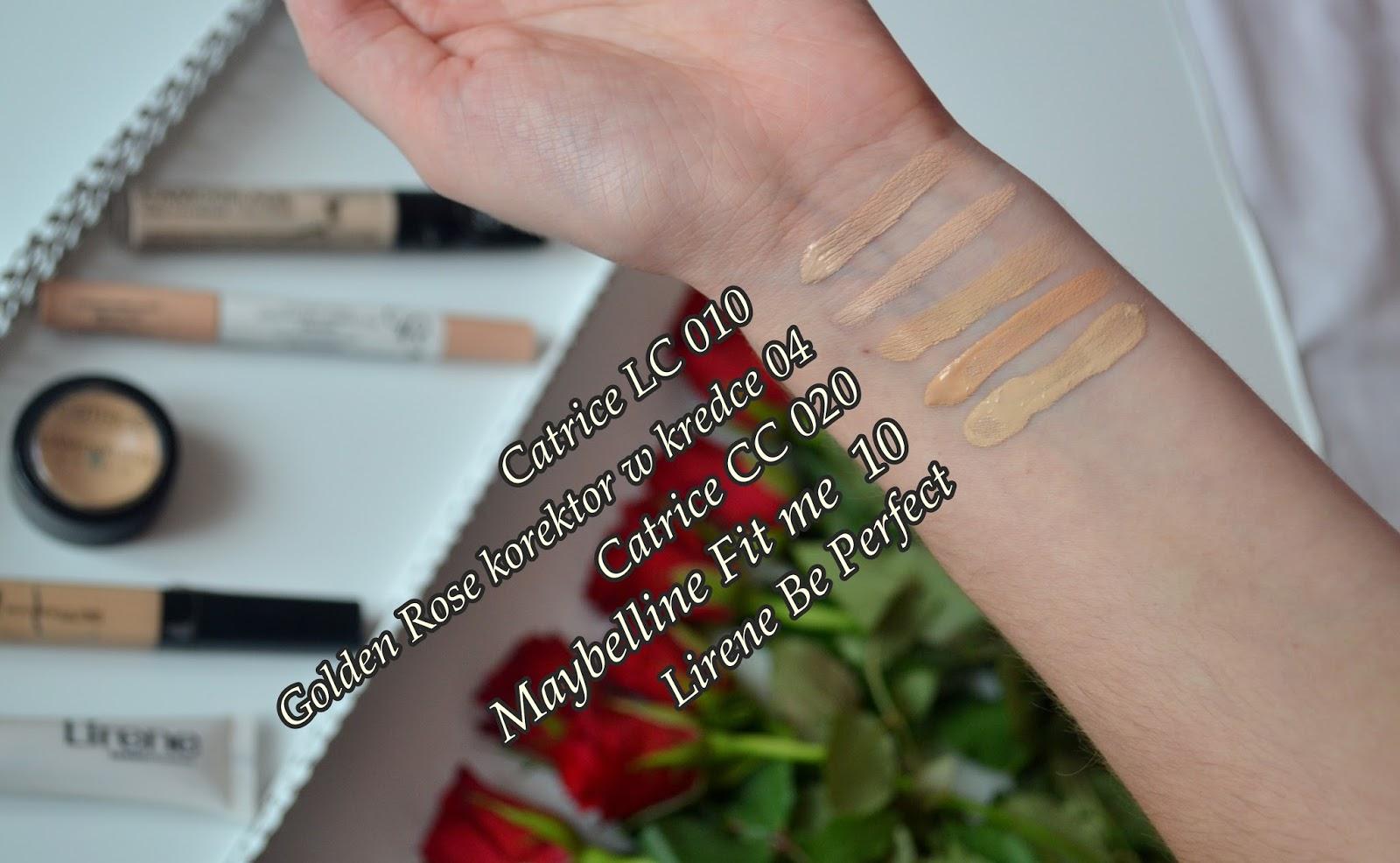 porównanie korektorów, swatche korektorów Catrice Maybelline fit me, Golden rose korektor w kredce, Lirene be perfect