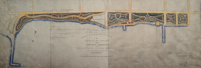 Map by John Howard: Sketch of a design for laying out the North Shore of the Toronto Harbour in pleasure drives, walks and shrubbery for the recreation of the Citizens, June 18, 1852