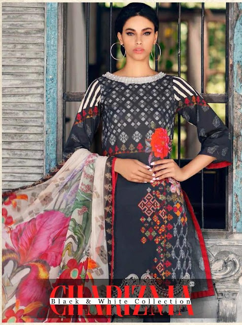 Shraddha Designer Charizma Black and White Pakistani Suits