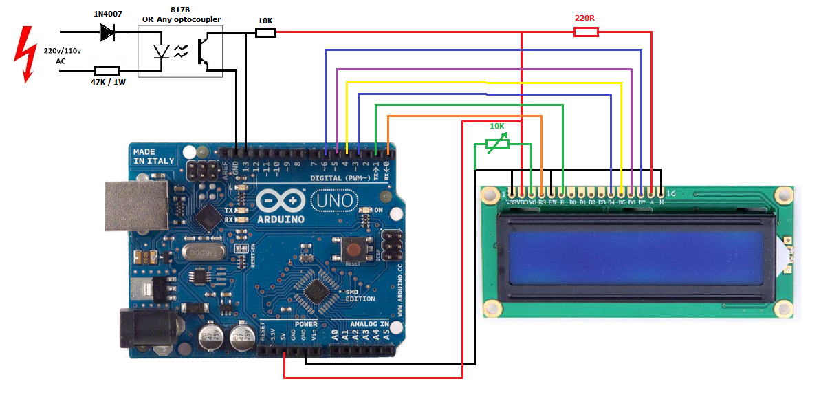 Frequency Counter Projects : Ac v frequency counter using arduino simple projects
