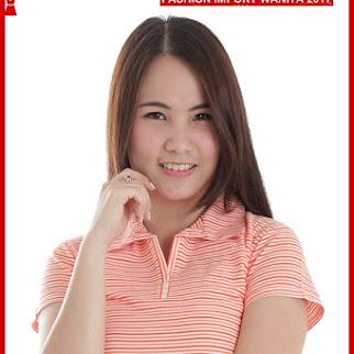 ADR126 Kaos Wanita Orange Polo Salur Import BMGShop