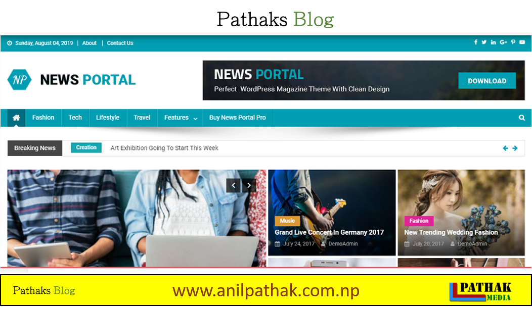 Best Wordpress Theme For Free - News Portal, pathaks blog, anil pathak