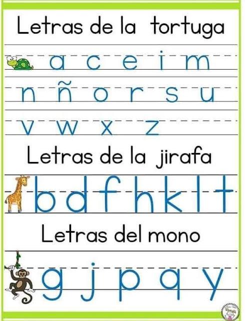 Ayuda para la escritura de las letras