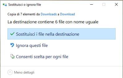 sostituzione dei file con le precedenti versioni