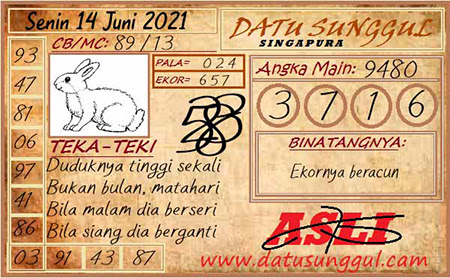 Prediksi Datu Sunggul SGP Senin 14 Juni 2021