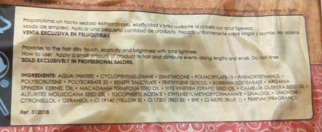 ingredientes Aceite capilar Kinessences de Kin Cosmetics Opinión
