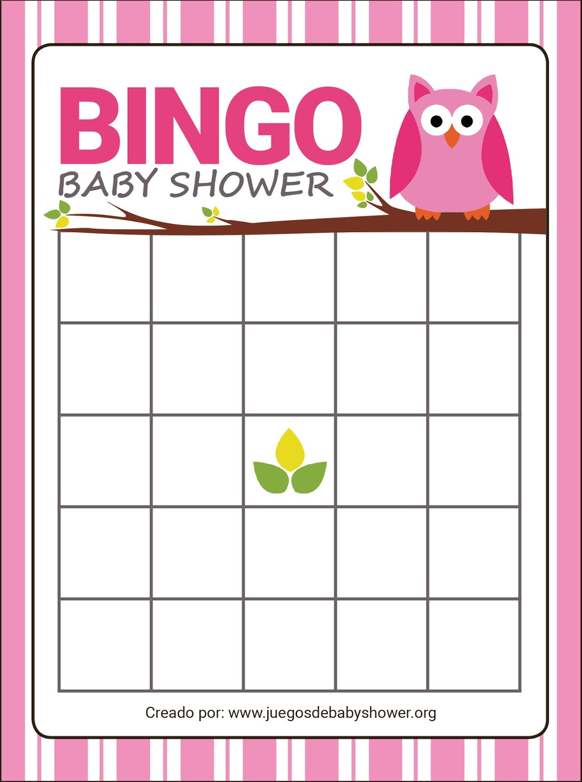 Bingo De Baby Shower En Espanol Baby Shower Ideas