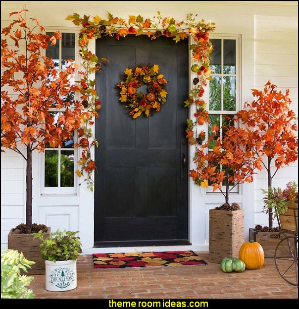 Electric Lighted Maple Trees seasonal decor fall decorations thanksgiving decorations