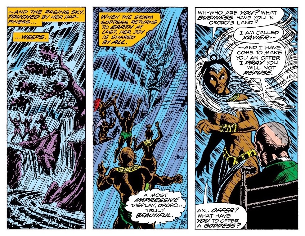 Villagers cheering the arrival of rain as the self-proclaimed goddess Ororo alights, confronted by Professor X
