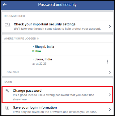 Click on facebook change password