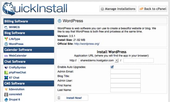 Web site Quickinstall