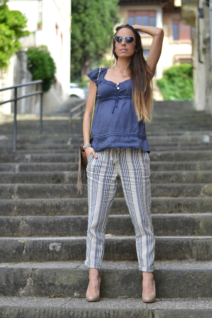 pantaloni lino righe