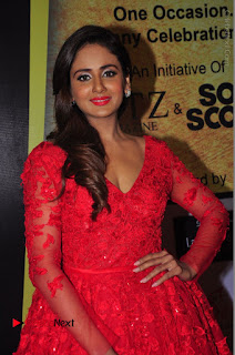 Actress Model Parul Yadav Stills in Red Long Dress at South Scope Lifestyle Awards 2016 Red Carpet  0025.JPG