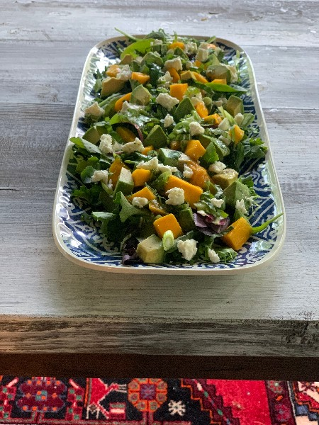 Mango, Avocado, and Feta Salad With Jalapeno Lime Dressing