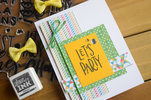 Card with Pink and Main March 2019 It's a Party Card Kit