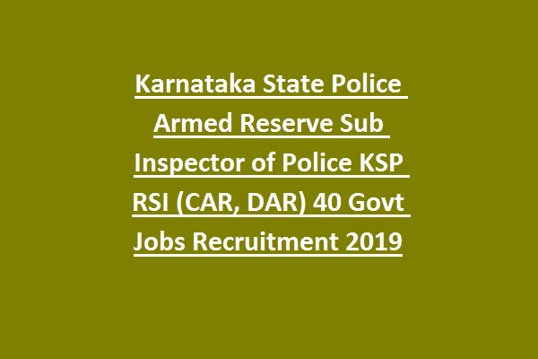Karnataka State Police Armed Reserve Sub Inspector of Police