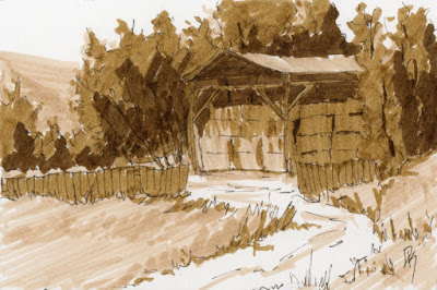 pen ink sepia hay shed rural farm