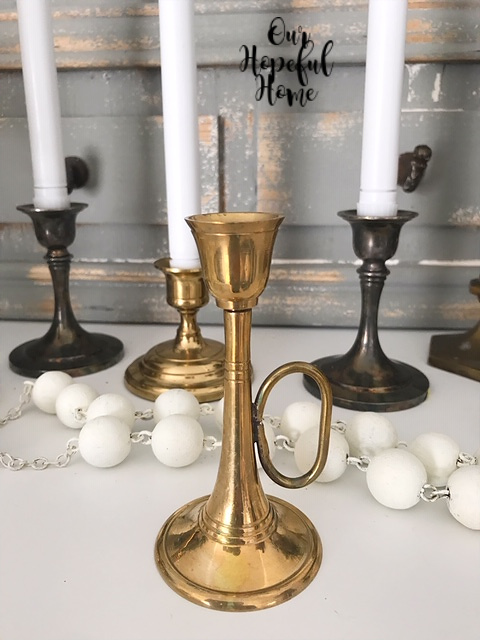 brass candlestick handle wooden farmhouse beads