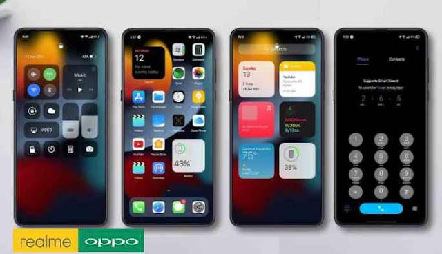 Download Tema iPhone | iOS 15 Dark Untuk Oppo ColorOS 5, 6, 7 dan 11 Serta Realme UI