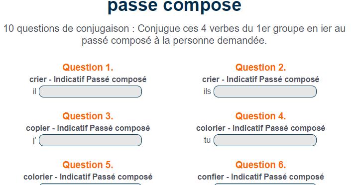 Orthoblog Fr Exercice De Conjugaison Colorier Confier Copier Et Crier Au Passe Compose