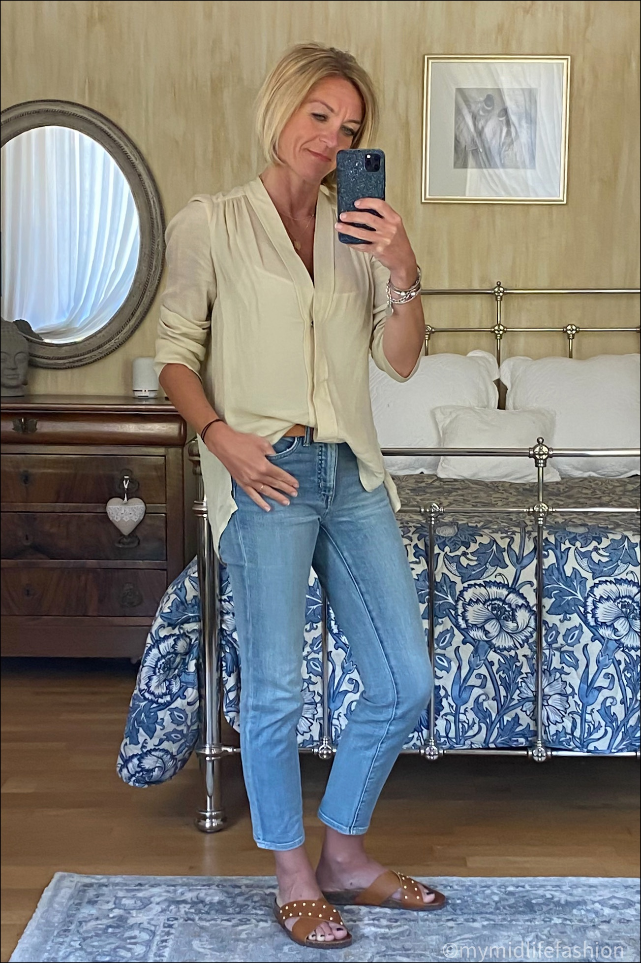 my midlife fashion, Isabel Marant blouse, Ralph Lauren cropped straight leg jeans, basalt sliders, Massimo Dutti leather tan belt