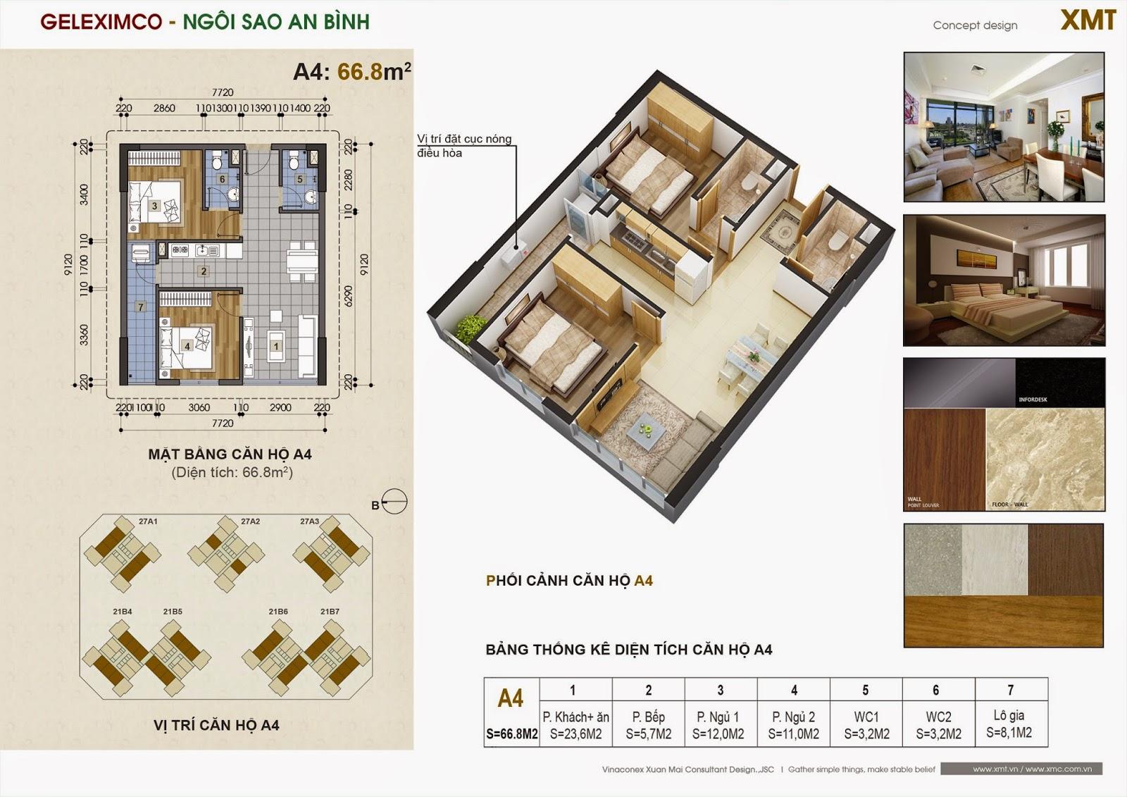 Thiết kế căn hộ 66.8m2 - chung cư green stars