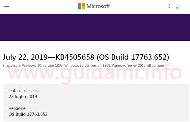 Pagina web del sito internet di Microsoft support