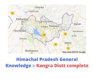 Himachal Pradesh General Knowledge :- Kangra Distt complete