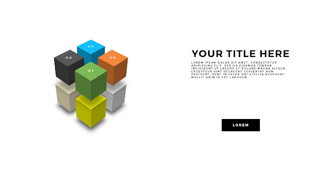Useful 3D Cube Design Elements for PowerPoint Template with Perspective Techniques