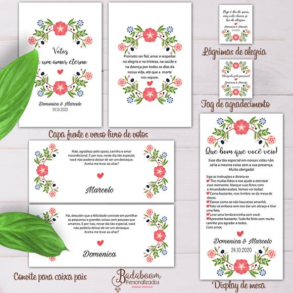 Floral, casamento, festa, arte digital, kit digital, arte personalizada, capa de livro, convite pais, display de mesa, lágrimas de alegria, tag de agradecimento, capa cadeira, rótulo, tag,