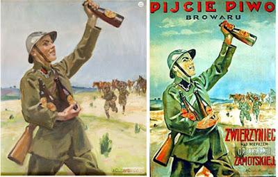 Plakat Wojciecha Kossaka dla browaru w Zwierzyńcu; z lewej oryginał, z prawej uzupełniony o hasła reklamowe
