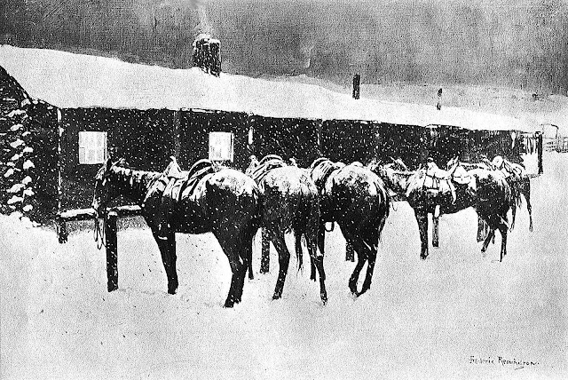 Frederic Remington tied horses at a tavern
