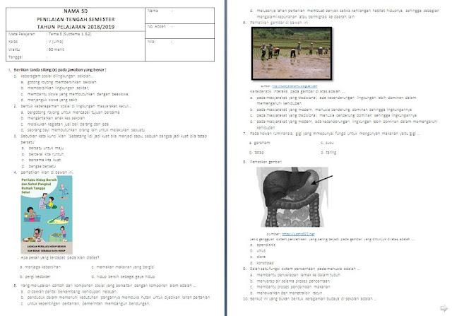 Soal UTS kelas 5 SD/MI Tema 3 Subtema 1-2