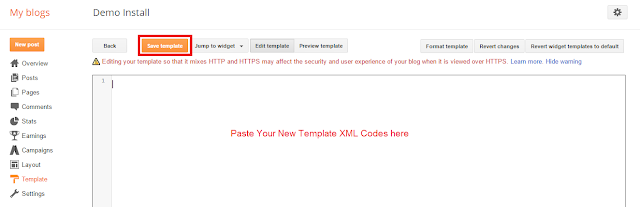 "After removing Previous codes just paste there your new template HTML codes there, then click on ""Save Template"" button."