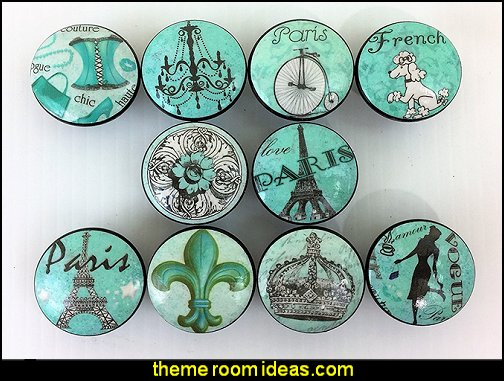 Teal Paris Cabinet Knobs  Paris themed bedroom ideas - Paris style decorating ideas - Paris themed bedding - Paris style Pink Poodles bedroom decorating -  French theme Paris apartment furniture - Paris bedroom decor - decor Paris style French Poodles - room decor french poodle - Paris Postcard bedding - Paris themed teenage bedroom ideas - Paris eiffel tower decor - decorating ideas for paris themed bedrooms - Paris Inspired Nursery - Paris bedrooms