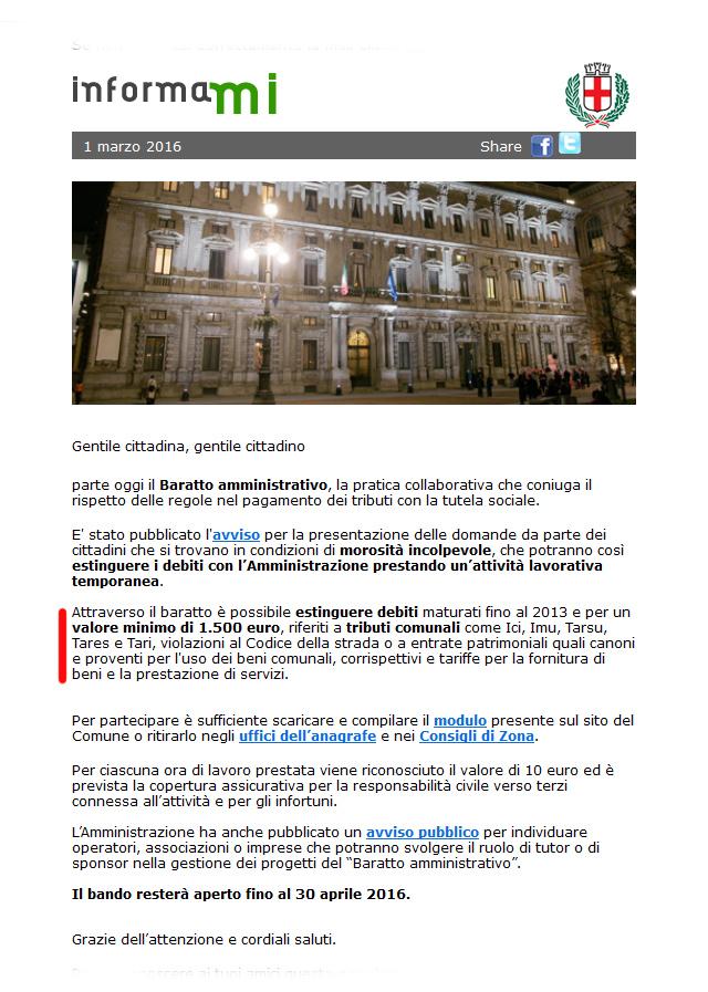 Comune Milano baratto