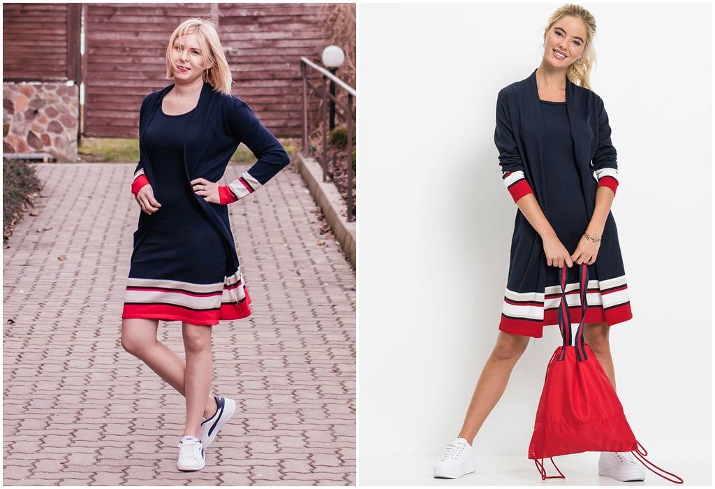 Granatowo-czerwona sukienka dzianinowa (Bonprix nr art. 92690495)