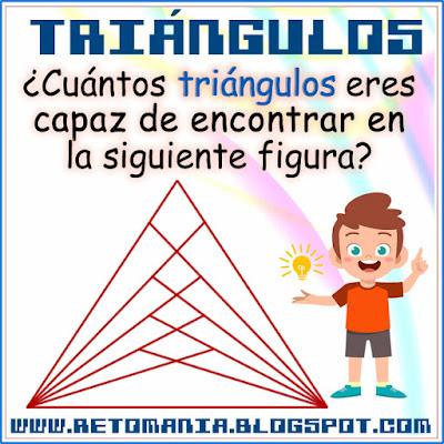 Piensa rápido, Número de triángulos, ¿Cuántos triángulos hay? Retos matemáticos, Desafíos matemáticos, Problemas matemáticos, Solo para genios