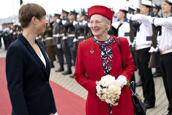 Estonia's President, Kersti Kaljulaid. Queen arrived on the Royal Yacht Dannebrog in Estonia