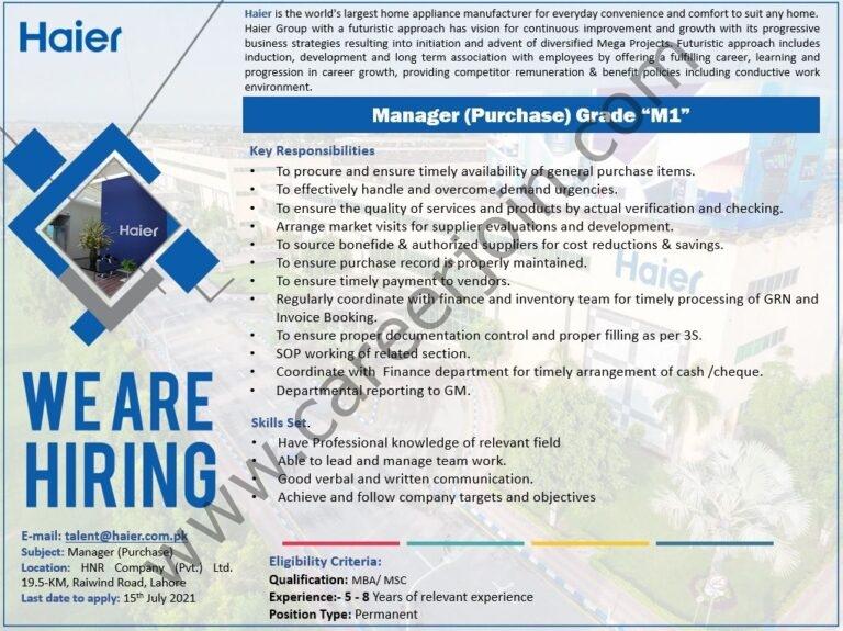 talent@haier.com.pk - Haier Pakistan Jobs 2021 in Pakistan